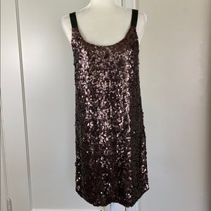 Theory sequin cocktail shift dress Alegra brown